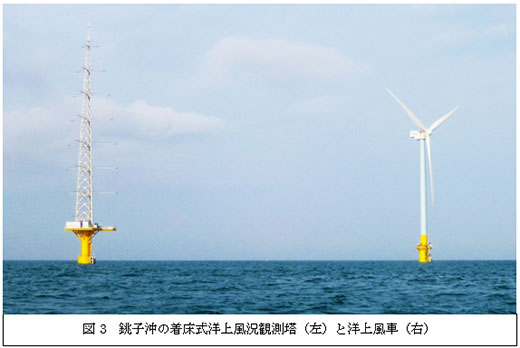 図3 銚子沖の着床式洋上風況観測塔(左)と洋上風車(右)